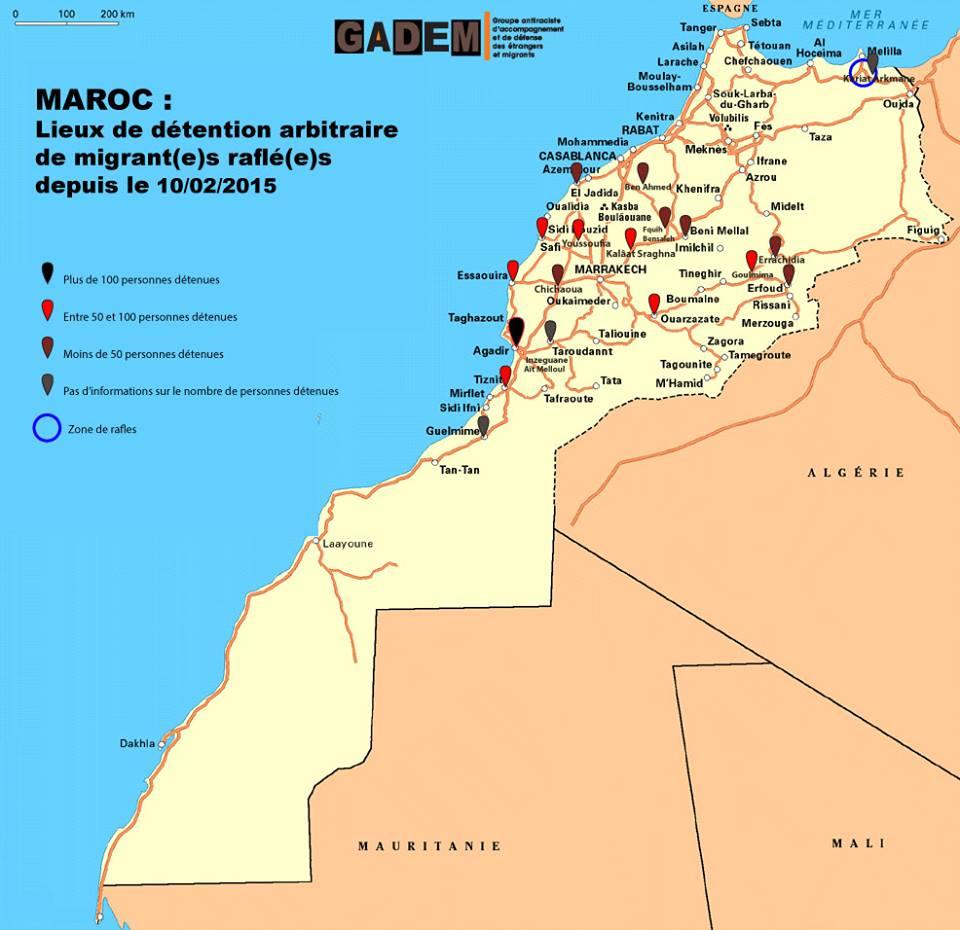 Mappa dei nuovi, improvvisati centri di detenzione in Marocco