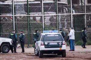 Il dispositivo di sicurezza delle forze spagnolo-marocchine a Melilla (fonte Associazione PRODEIN)