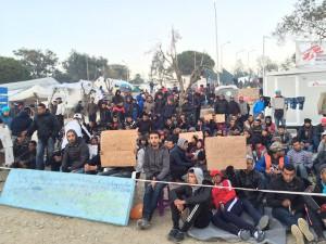 Proteste nell'hotspot di Moria, 22 Dicembre 2015